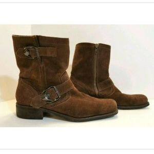 Guess Houston Moto Ankle Boots Suede Leather